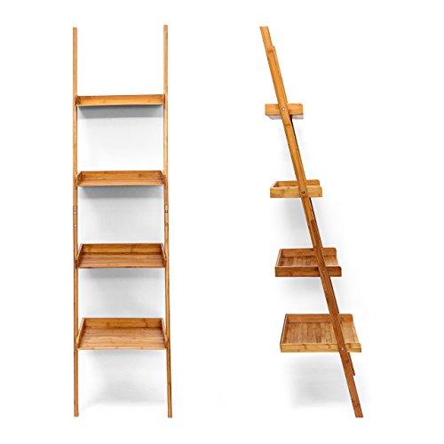 Relaxdays estanter a estilo escalera de bamb 4 - Escalera de bambu ...