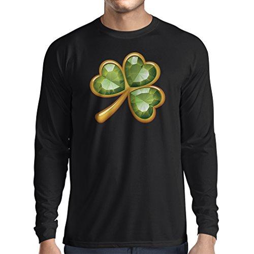 T-Shirt mit langen Ärmeln Irish shamrock St Patricks day clothing (Small Schwarz Mehrfarben) (Fight Club Soap Kostüm)