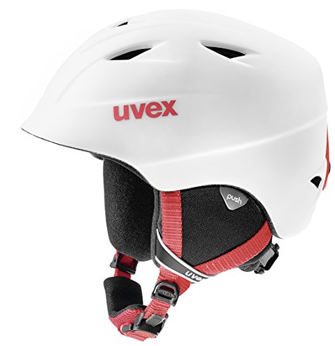 Uvex Kinder Airwing 2 Pro Skihelm, White-Red Mat, 54-58 cm