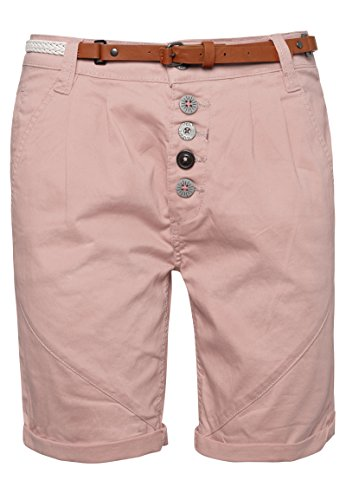 SUBLEVEL Damen Chino-Shorts mit Gürtel | Bermuda Hose kurz | Kurze Hose für Frauen in angesagten Farben dark-rose L