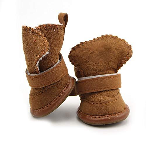Naisicatar Zapatos mascotas botas de nieve del perro de perrito de la pata del protector con cierre desmontable para perros pequeños y gatos medianos, tamaño 3, regalo de Brown para el invierno