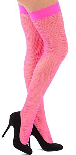 Krautwear Damen Strumpfhose Offen Netzstrümpfe Halterlose Netz Straps Strümpfe Elegant Sexy Netzstrumpfhose Hoher Bund Schwarz Rot Weiss Neon Pink Grün Kostüm Fasching Karneval 80er (149-pink)