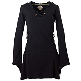 Vishes - Alternative Bekleidung - Elfenkleid mit Zipfelkapuze und Bändern zum Schnüren schwarz 36-38