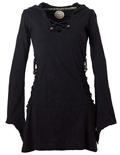 Vishes - Alternative Bekleidung - Elfenkleid mit Zipfelkapuze und Bändern zum Schnüren schwarz 42 (Damen Tunika Kapuzen)
