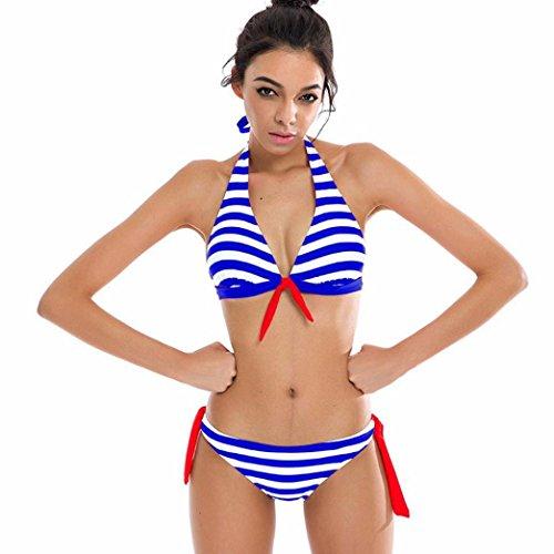 Sexy Bikini Set FORH Damen Reizvolle Push-up Bademode BH Klassisch Gestreiften Badeanzug + High Waist Shorts Sommer Monokini Swimsuit Tankini Beachwer (Blau, XL) (Gestreift Push-up-bh)