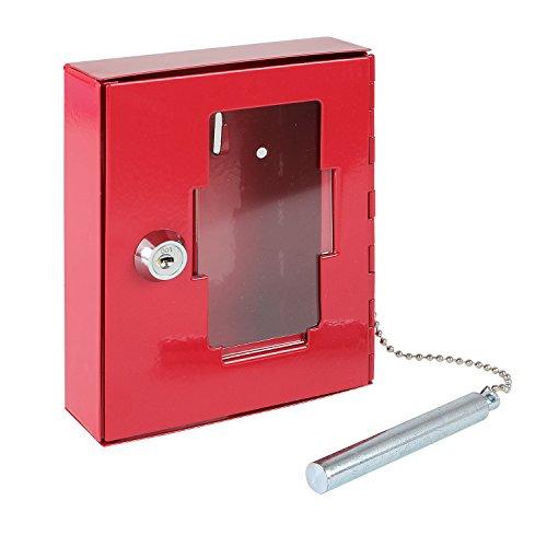 HMF 1021-03 Notschlüsselkasten mit Glasbruchhammer 15,0 x 12,0 x 4,0 cm, RAL 3002 rot