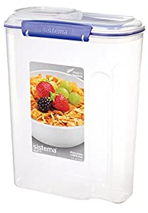 Sistema KLIP IT Cereal Container - 4.2 L, Clear with Blue Clips