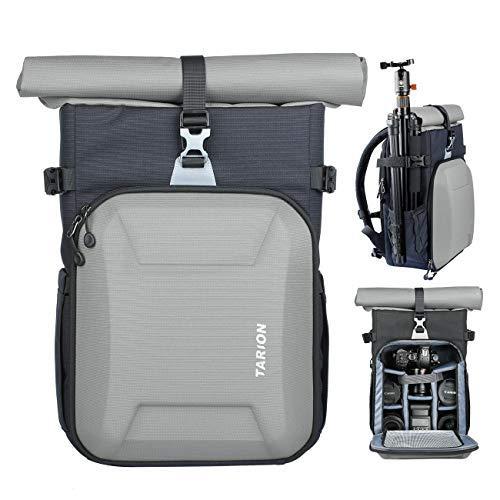 TARION XH Kamerarucksack Kameratasche DSLR Rucksack Fotoruckack Unisex für Sony Canon Nikon Kameras Stativ Objektiv usw. Zubehör mit 15,6 Zoll Laptopfach & Regenschutzhülle Silber