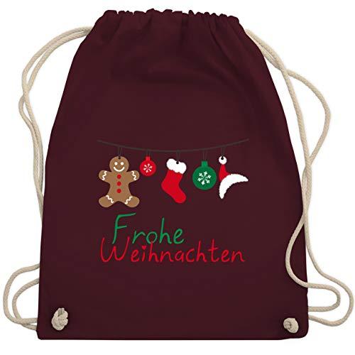 Weihnachten & Silvester - Frohe Weihnachten Girlande - Unisize - Bordeauxrot - WM110 - Turnbeutel & Gym Bag