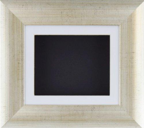 BabyRice Deep box display Frame per oggetti in 2D e 3D medaglia Keepsake Baby Casts 1st stivaletti effetto argento antico fiori/posteriore, con passepartout bianco/nero