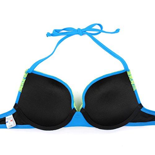 RELLECIGA bikini donna top bikini super push up imbottito con laccetti pizzo Zaffiro