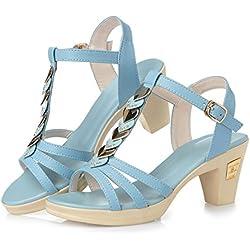 High Heels Sandalen Sommer Damen Sandalen Sweet Diamond Side, hellblau, siebenunddreißig