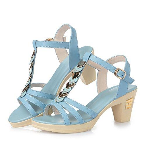 Sandali con tacco donne di estate Sandali Dolce lato del diamante Light Blue