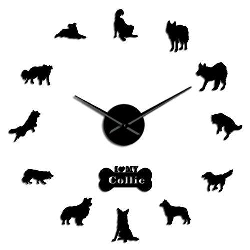 Wandaufkleber Border Collie Hunderasse Tier 3D DIY Wanduhr Grenze Colly Silhouette Acryl Spiegel Aufkleber Stumm Uhr Uhr Haustier Liebhaber Geschenk 37inch -