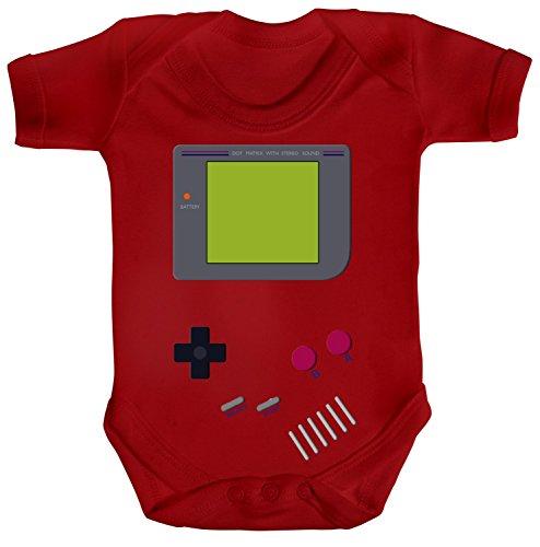 ShirtStreet Gamer Nerd Geek Strampler Bio Baumwoll Baby Body kurzarm Jungen Mädchen Retro Spielkonsole, Größe: 6-12 Monate,Red