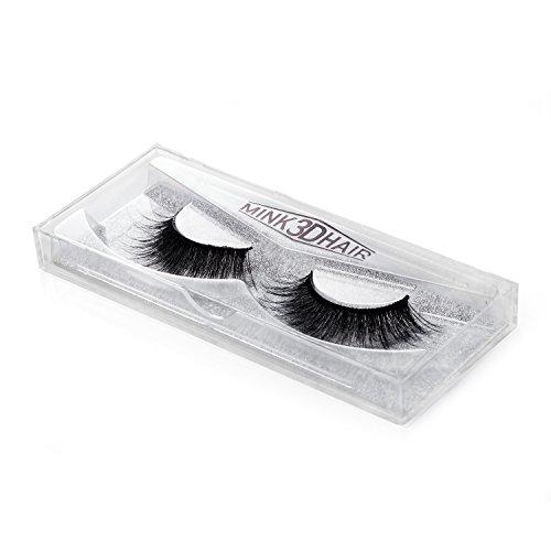 HBF 1 Paar Künstliche Wimpern mit der tragbaren Packung 3D Natürliche lange dicke und schwarze künstliche Echthaarwimpern Fashion Wimpernverlängerung für Schmink Make-up