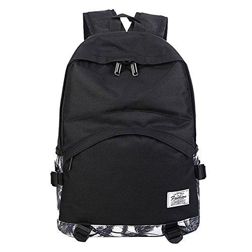 Le nuove signore chic borsa zaino coreano bagaglio di nylon borsa da viaggio zainetto spalla del computer portatile (nero)