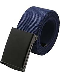 Maikun - Cinturón táctico de lona para hombre de color liso y hebilla metálica