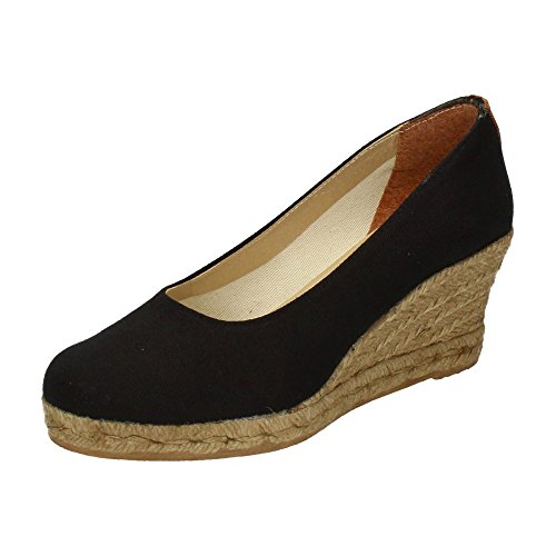 TORRES 4012 Zapatos CUÑA Esparto Mujer Alpargatas Negro 39