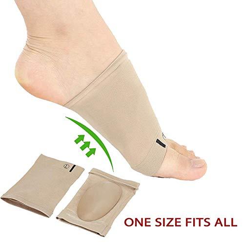 2 Pares Calcetines con soporte para el arco del pie, fascitis plantar, pies planos, ortopédicos, fundas con cojín de gel, arco para el pie con vendas elásticas