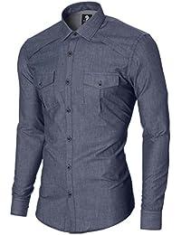 MODERNO Herren Slim Fit Freizeithemd Denim Nachahmung (MOD1446LS)