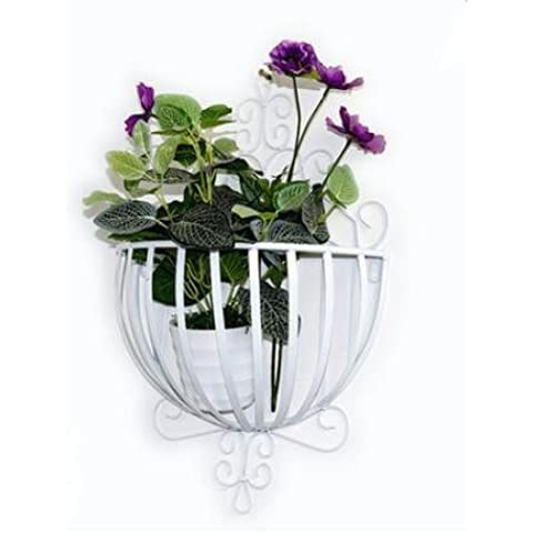 DJ/hierro forjado/estante de pared/colgante de pared cestas/cesta/macetero para balcón/estante (excluyendo las flores) blanco