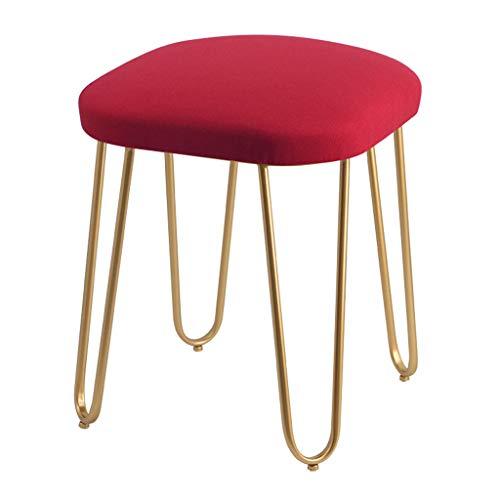 Baumwolle Leinen Make-up Hocker Stühle Eisen Vanity Hocker Runde Schuh Bank Startseite Sofa Hocker (Golden Hocker Bein),RED