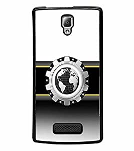 FABCASE Premium globe design,black and white,gold stripe,3d shape Printed Hard Plastic Back Case Cover for Lenovo A2010