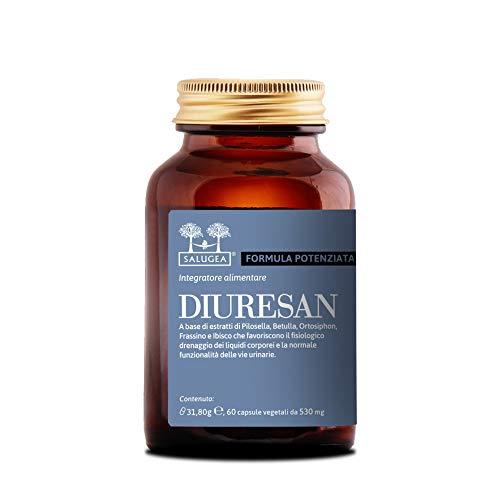 diuresan formula potenziata salugea - integratore per la ritenzione idrica - 60 capsule vegetali - flacone in vetro scuro (mai in plastica!) - drenante e depurante naturale