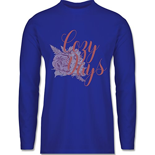 Shirtracer Statement Shirts - Cozy Days Lettering - Herren Langarmshirt Royalblau