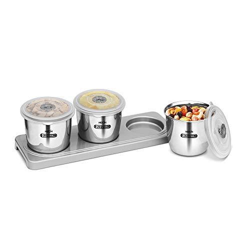 Milton Stainless Steel Multipurpose Jar, Set of 3, 670 ml, Steel Plain
