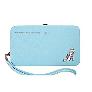 Donna Portafogli, BeautyG portafoglio multifunzionale del supporto del telefono del titolare della carta di credito del raccoglitore del diamante alto-tallonato (blu)