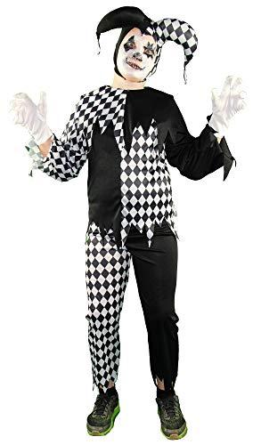 Foxxeo Horror Clown Kostüm für Jungen - Größe 122 bis 164 - Kinderkostüm Halloween Fasching Karneval Größe 122-128