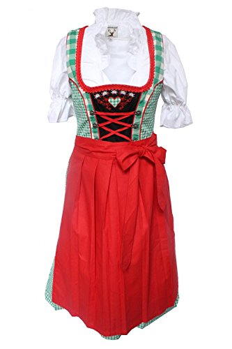 ... lila, ALM728 Grün-Rot. Alpenmärchen, 3tlg. Dirndl-Set - Trachtenkleid,  Bluse, Schürze, Gr.