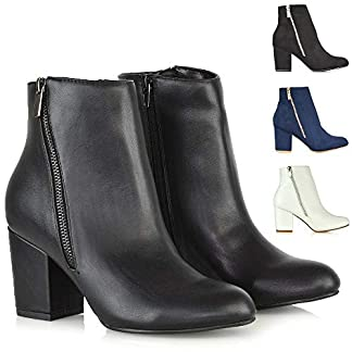 Womens Block Mid Heel Ankle Boots Ladies Zip Casual Smart Party Booties Shoes 20