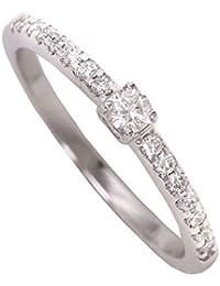 MyGold Damen-Verlobungsring Weißgold Weissgold 750 Gold (18 Karat) Diamant 15 Brillanten 0,20 Karat Solitär Heiratsantrag Hochzeitsantrag Antrag Verlobung Weißgoldring Diamantring Gaura MOD-06736