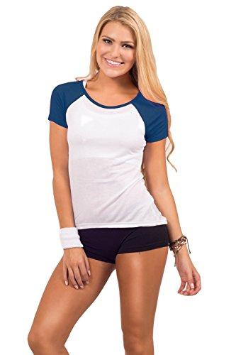Sport Shirt avec col rond, matériau solide souple Marine