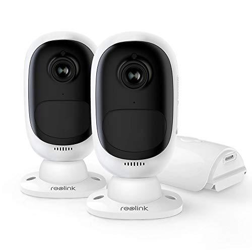 Reolink Argus 2 Überwachungskamera Aussen 2,4Ghz WLAN 1080P kabellos mit wiederaufladbarem Akku, 2-Wege-Audio, PIR Sensor, Sternenlicht Nachtsicht, 64GB SD Kartenslot – 2X Stück