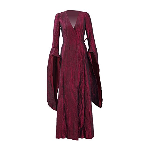 Zhangjianwangluokeji Melisandre Costume Halloween Cosplay Party Langes Kleid Full Set für Frauen (Medium, Kleid)