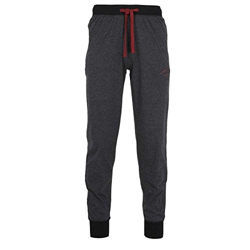 TOM TAILOR Herren Lange-Hose, Schlafhose, Pyjama-Hose - Baumwolle, Single Jersey, schwarz, melange, mit Bündchen 54 (Schlaf-hose Feste Baumwolle)