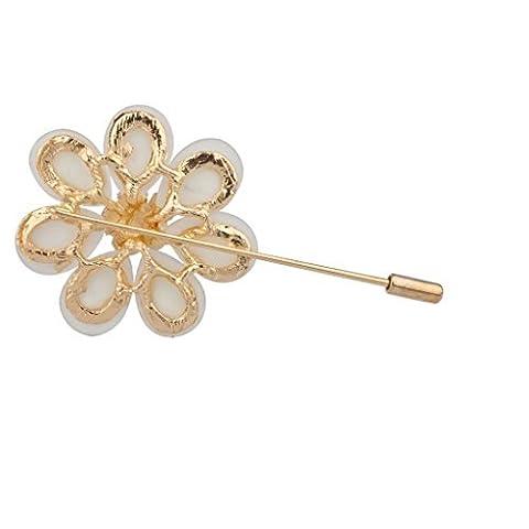 Lux Accessories Pave Flower Floral Tear Drop Teardrop Pin