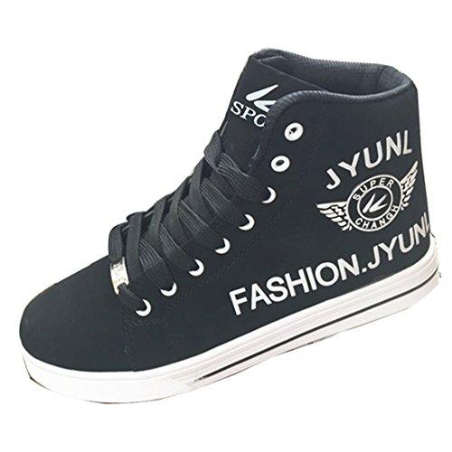 Men's Fashion High Top PU Leather Canvas Shoes Black