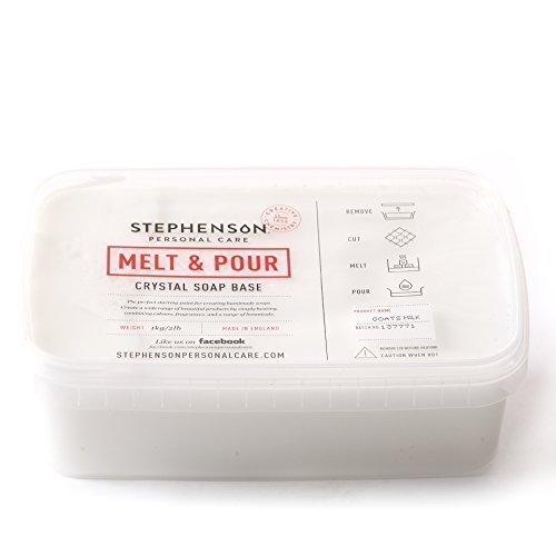 Base de Jabón para Fundir y Verter Marca Stephenson - 1 Kg. - Leche de Cabra - Melt and Pour Soap Base Goats Milk 1Kg, Instructions Included, 100% Vegetable Base, Biodegradable, Paraben free