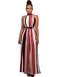 31137727cbefd Combinaison Femme Rayures, GongzhuMM Été Femmes Jumpsuit Taille Haute  Vêtements Tunique Bureau Romper Haut sans