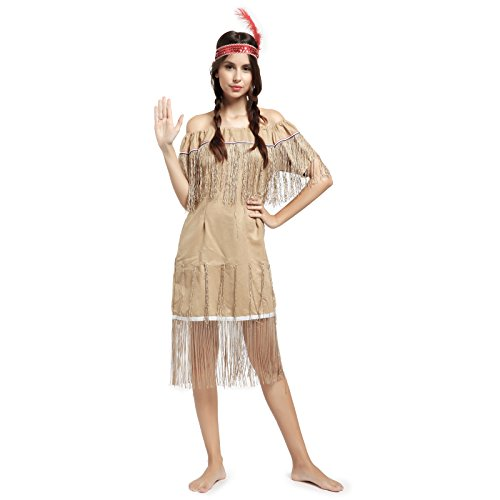 SurePromise One Stop Solution for Sourcing Karneval Damen Kostuem Indianerin Sioux Squaw Wilder Westen Kostüm Halloween Indianerkostüm L (Damen Wild West Kostüm)