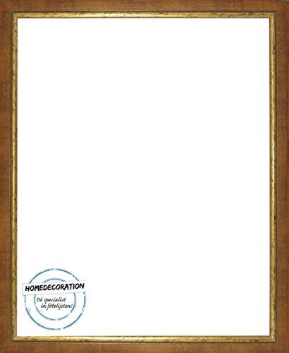 Napoli Bilderrahmen Massivholz mit vintage patiniertem Cottage Look und goldfarbener Innenkante 101 x 153 cm hochwertige Leiste 153 x 101 cm Farbwahl hier: Ocker Gold mit Acrylglas Antireflex 2 mm