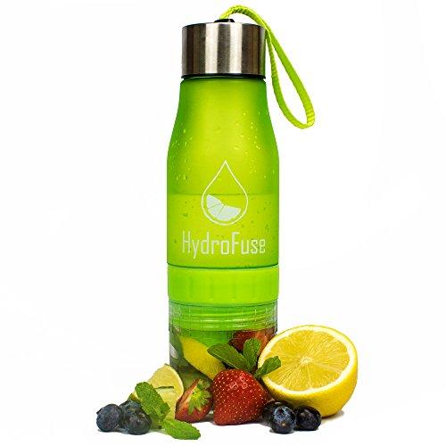 HydroFuse Wasserflasche/Schorlenflasche mit eingebauter Saftpresse-100% BPA-frei aus erneuerbaren Quellen. Mit Deckel aus Edelstahl und Trageschnur., grün, S