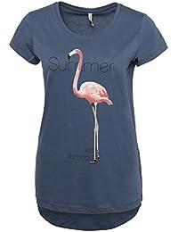 Stitch & Soul Damen T-Shirt mit Flamingo Print | Elegantes Sommer Basic Shirt mit kurzen Ärmeln