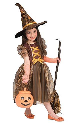 Kinder Böse Kostüm Hexe - Hexe Autumn Kostüm für Mädchen - Braun Orange - Gr. 128