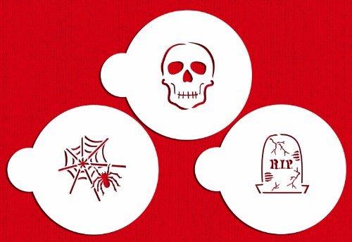Designer Stencils C457 Scary Halloween Cookie Stencil Set, (Spider Web, Skull, Gravestone), Beige/semi-transparent by Designer Stencils (Halloween Web Spider Cookies)